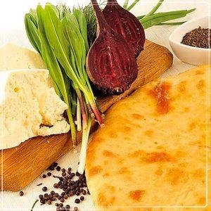 Пирог с сыром и свекольной ботвой (цахараджын)