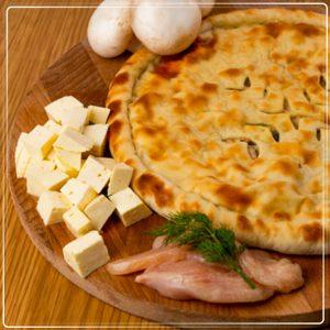 Пирог с курицей сыром и грибами